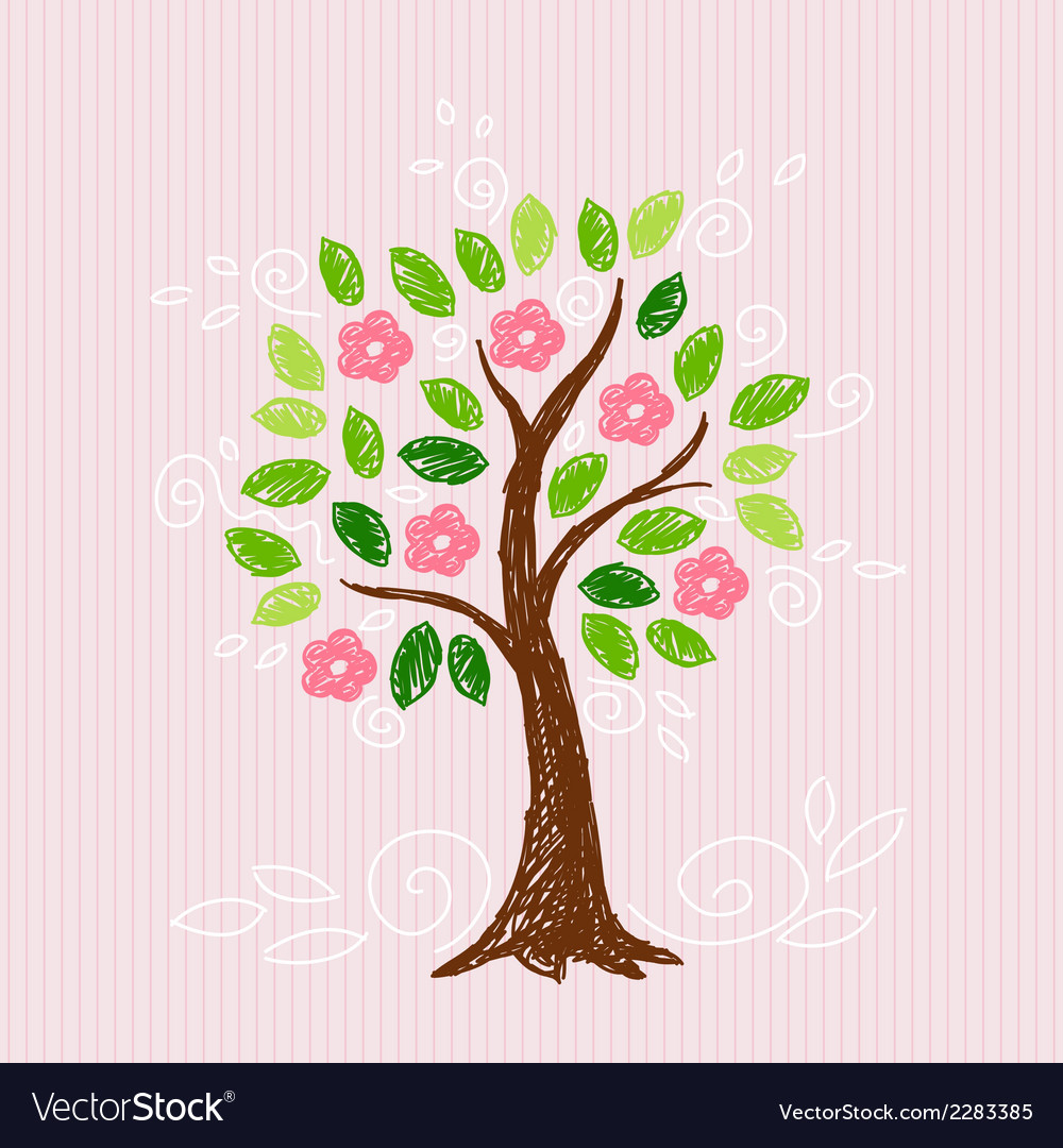 Tree with pink flower vector art download free vectors for Decoration on line