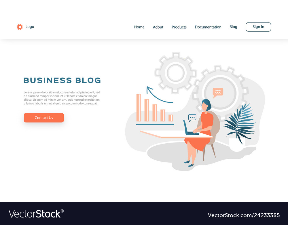Web page design template for business blog