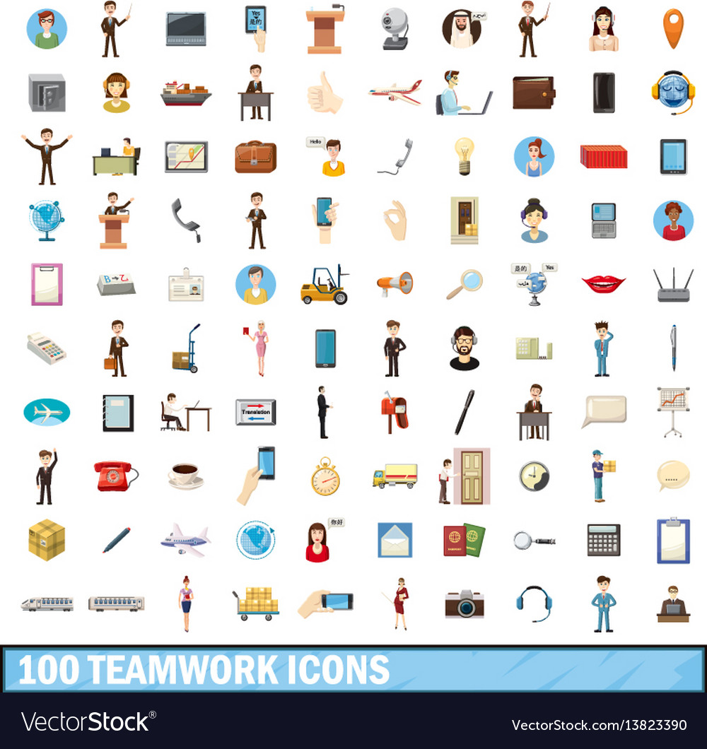 100 teamwork icons set cartoon style