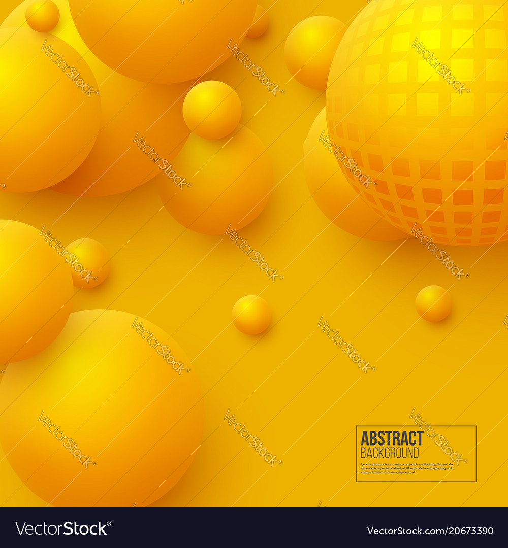 Abstract floating spheres background 3d yellow