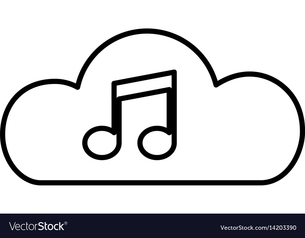 Cloud with music note isolated icon