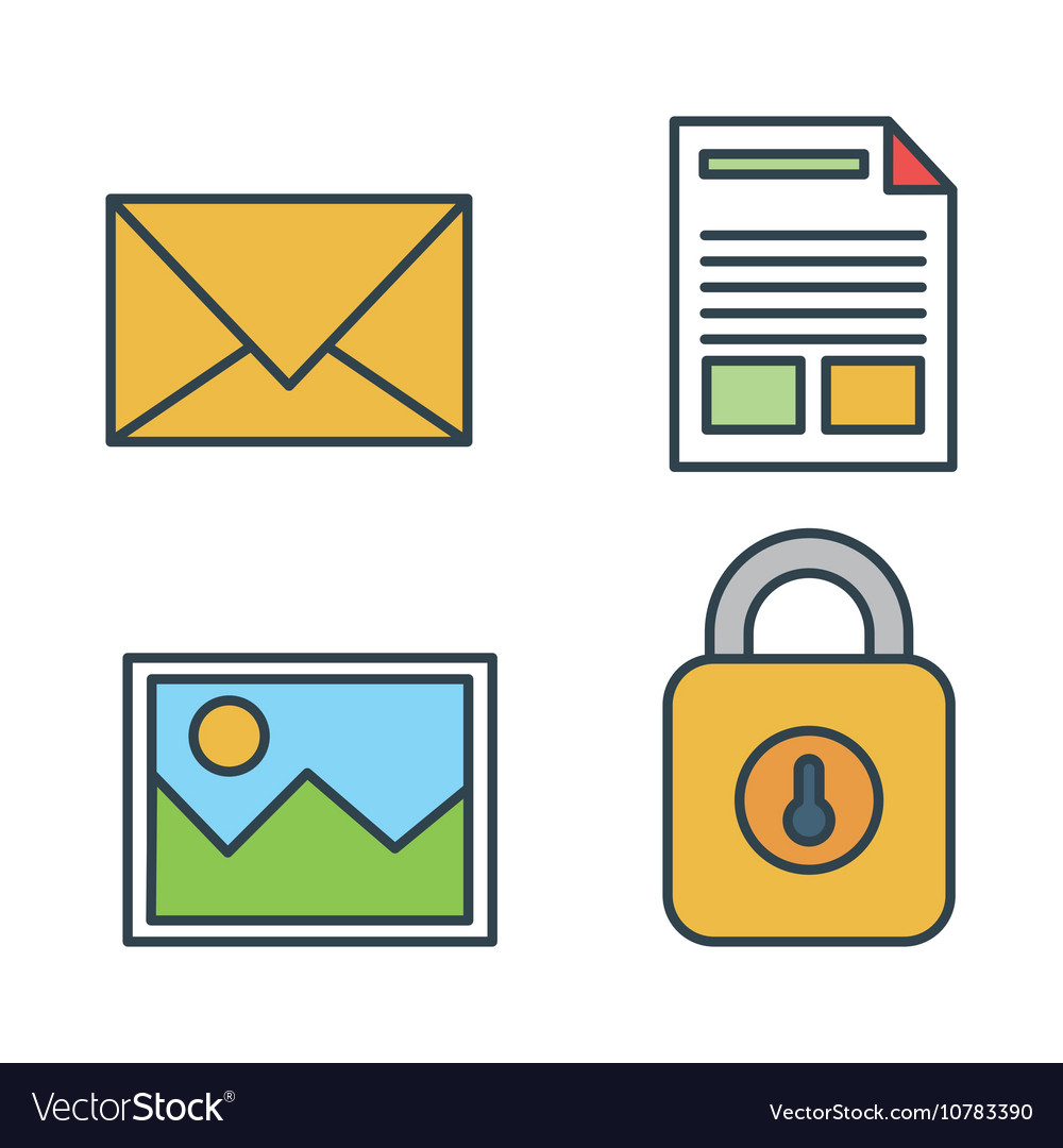Collection icons secutiry data design isolated