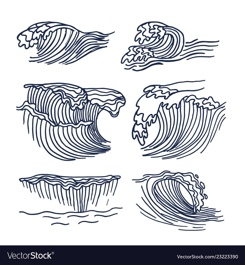 Drawing sea waves set