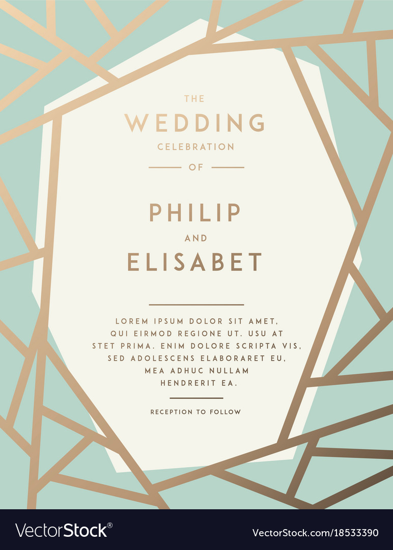 Golden wedding invitation template Royalty Free Vector Image