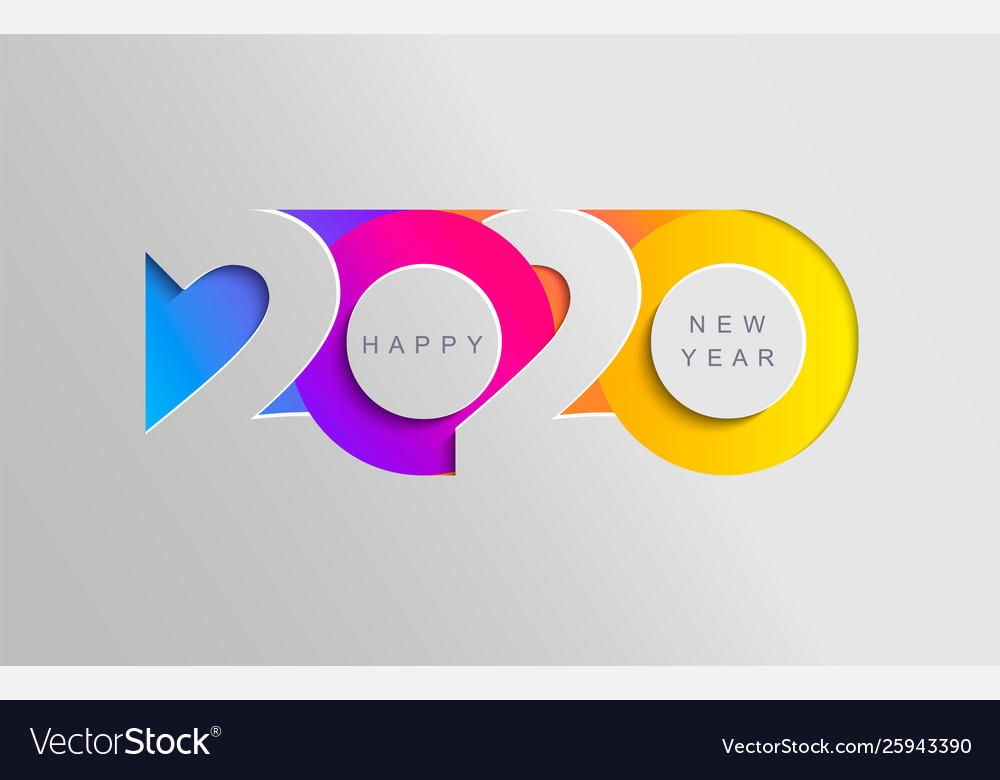 Happy 2020 new year insta colour banner