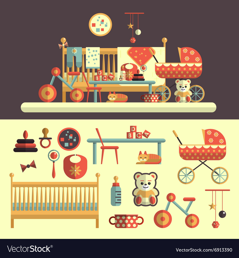 Interior of baby room and toys set for kids