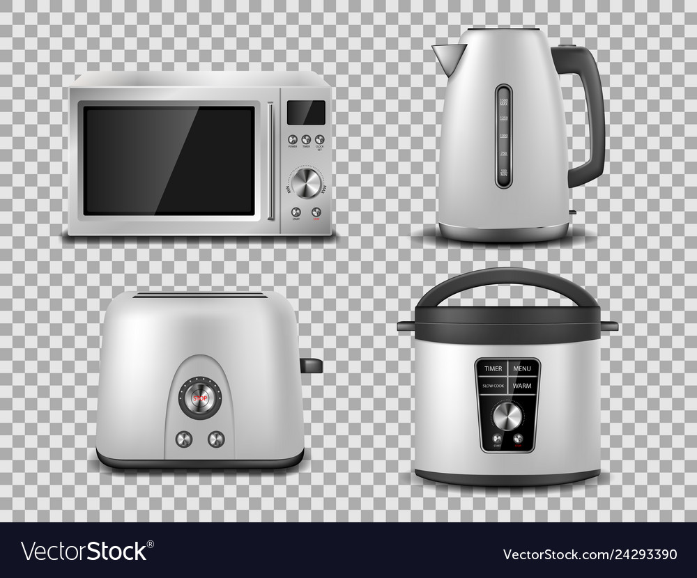 Kitchen appliances template realistic silver