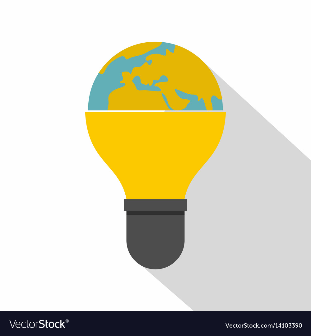 Light bulb and planet earth icon flat style
