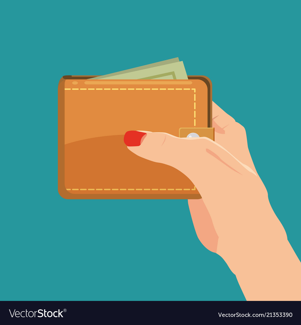 Payment concept hand holding wallet with dollars
