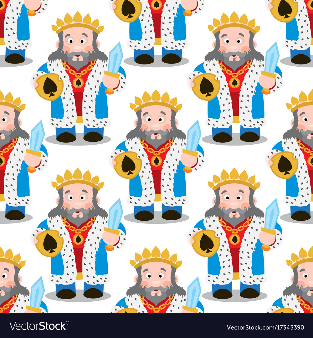 Seamless Pattern With Cartoon Kings Royalty Free Vector