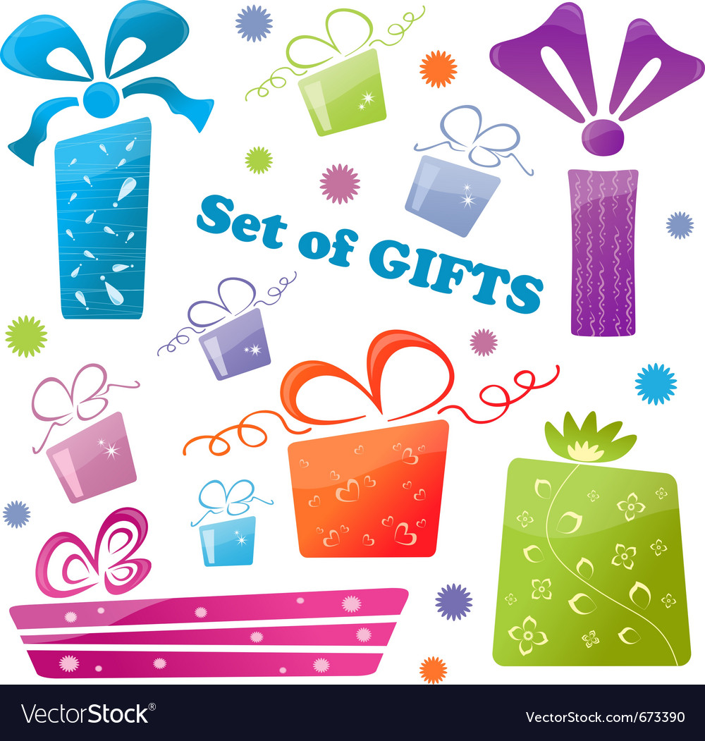 Set of colorful gifts icons