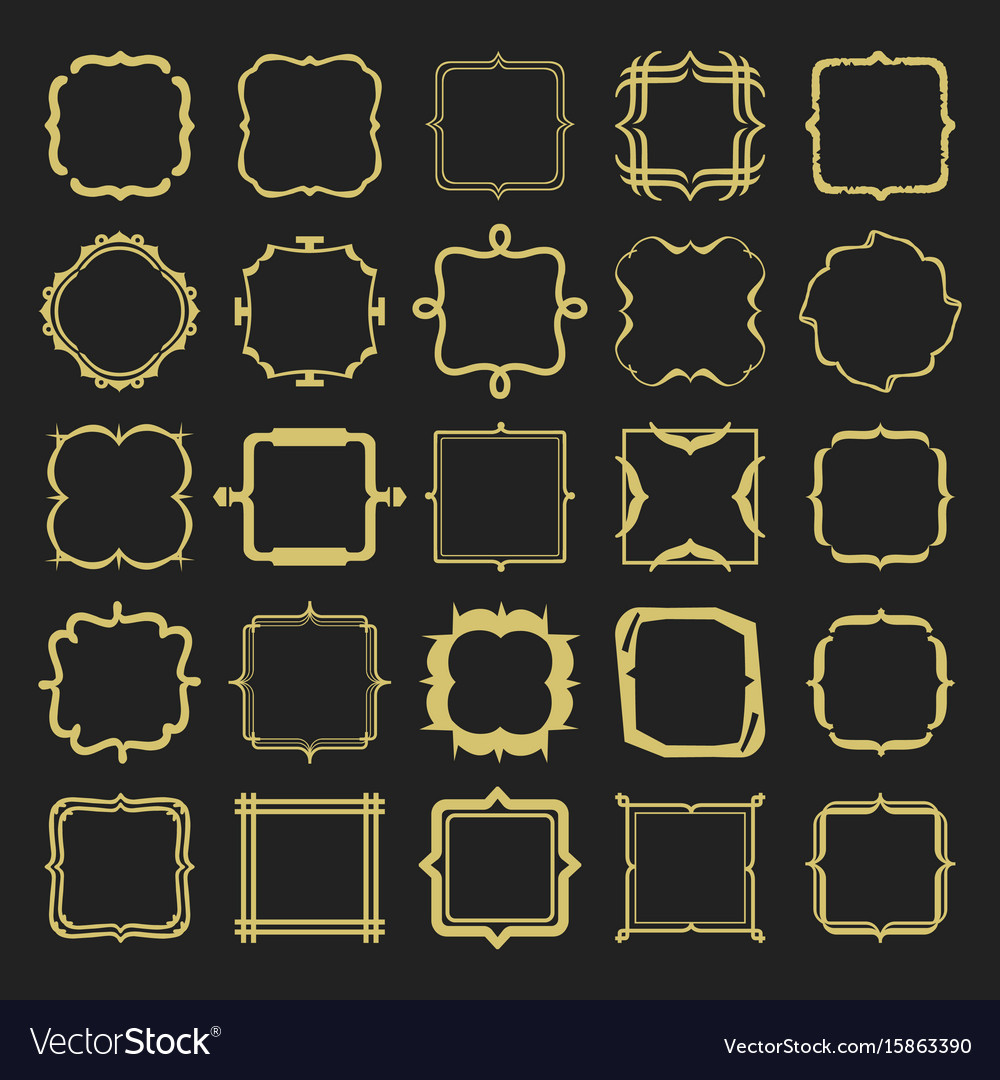 Set of golden different styles emblems and frames