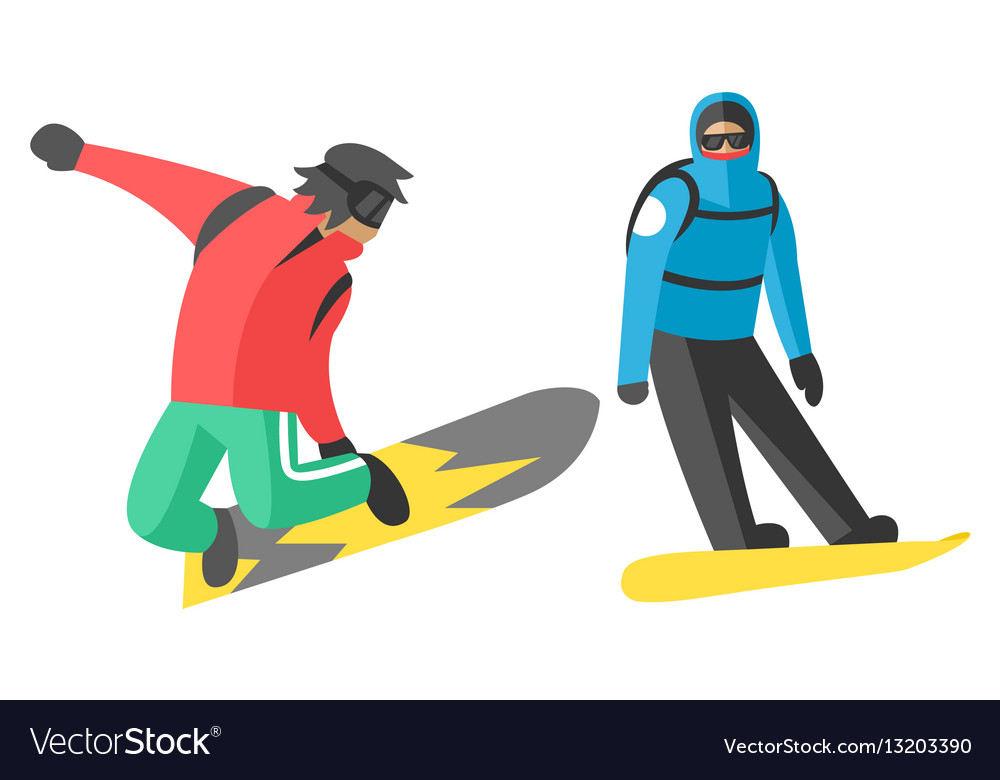 Snowboarder jump in different pose people