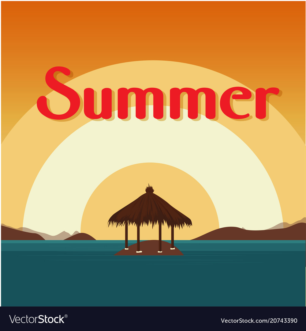 Summer beach bungalow on island sunset background