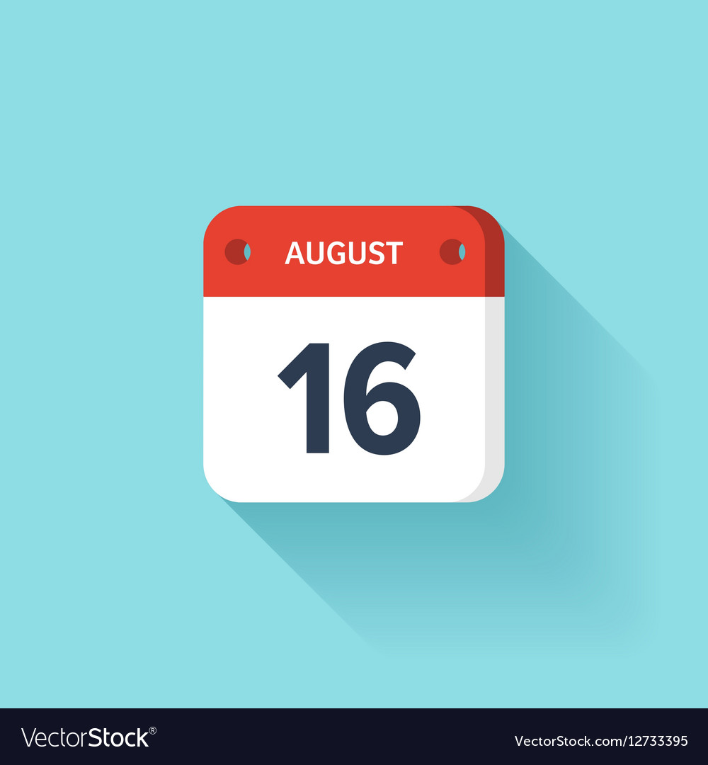 August 16 Isometric Calendar Icon With Shadow vector image
