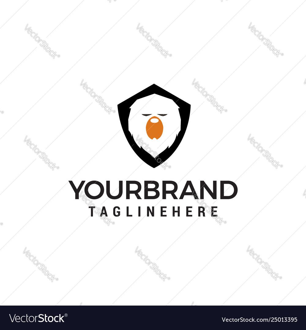 Bear shield logo design concept template