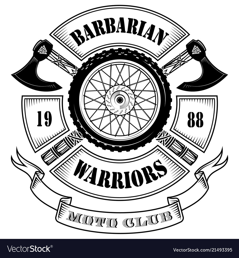 Emblem of the motorcycle club motorcycle wheel