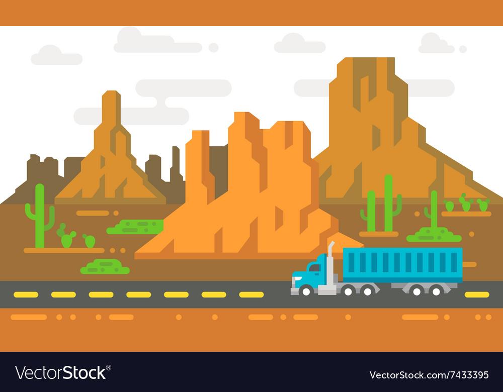 Flat design lonely road Arizona