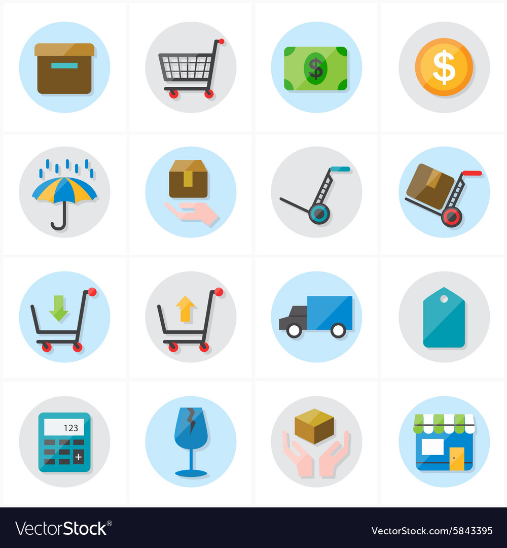Flat Icons For Business Icons and Ecommerce Icons