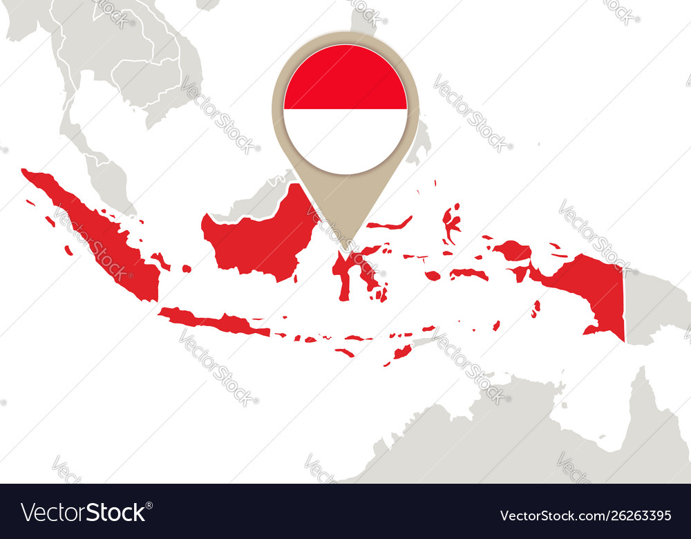 Indonesia On A World Map Indonesia on world map Royalty Free Vector Image