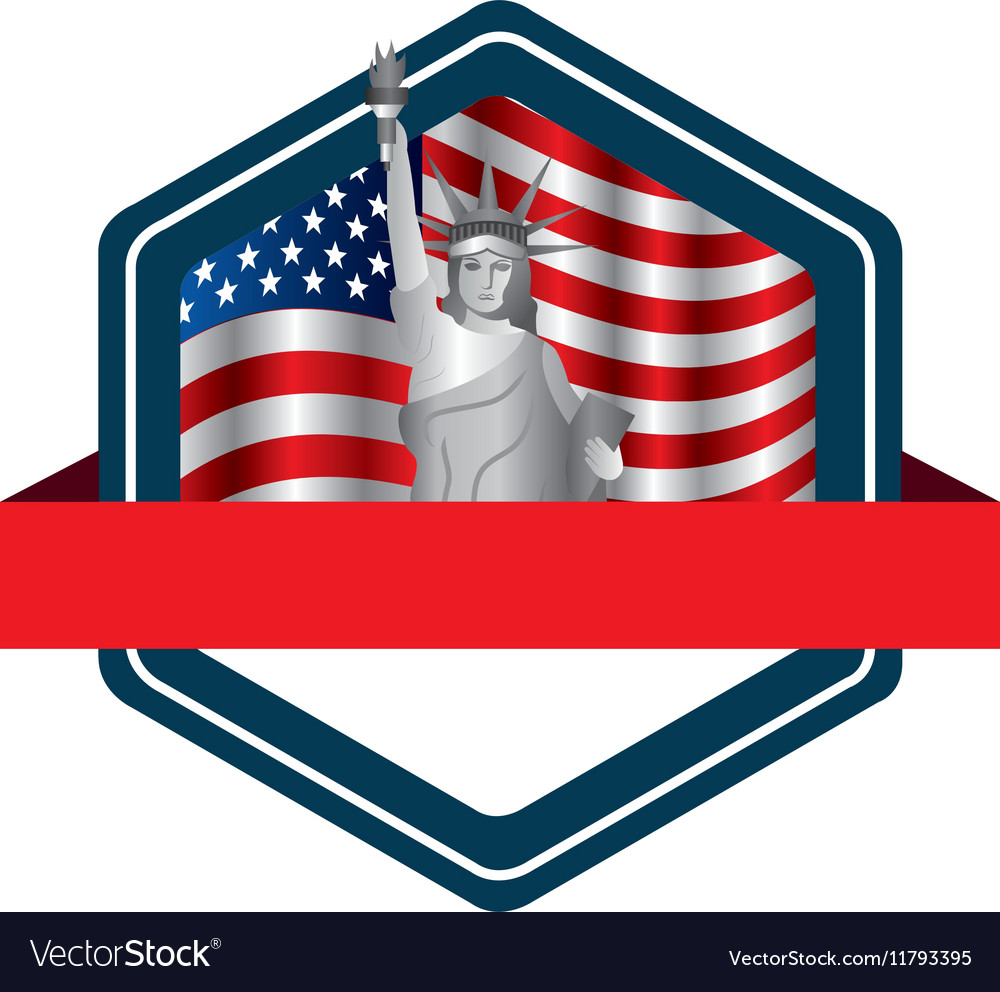 Liberty statue with usa flag icon vector image