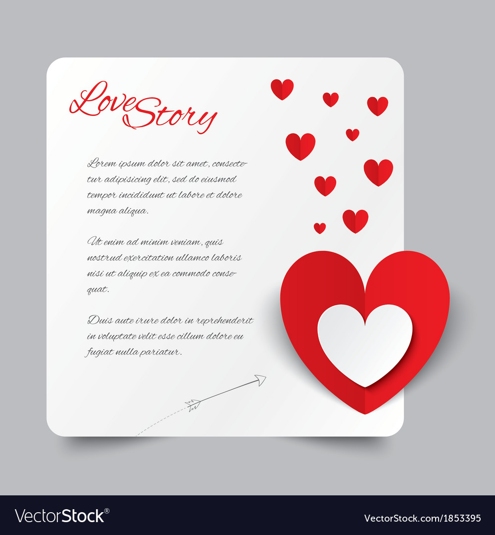 Red paper heart Valentines day card Love story