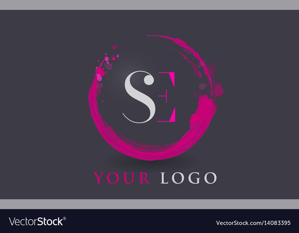 Se letter logo circular purple splash brush vector image