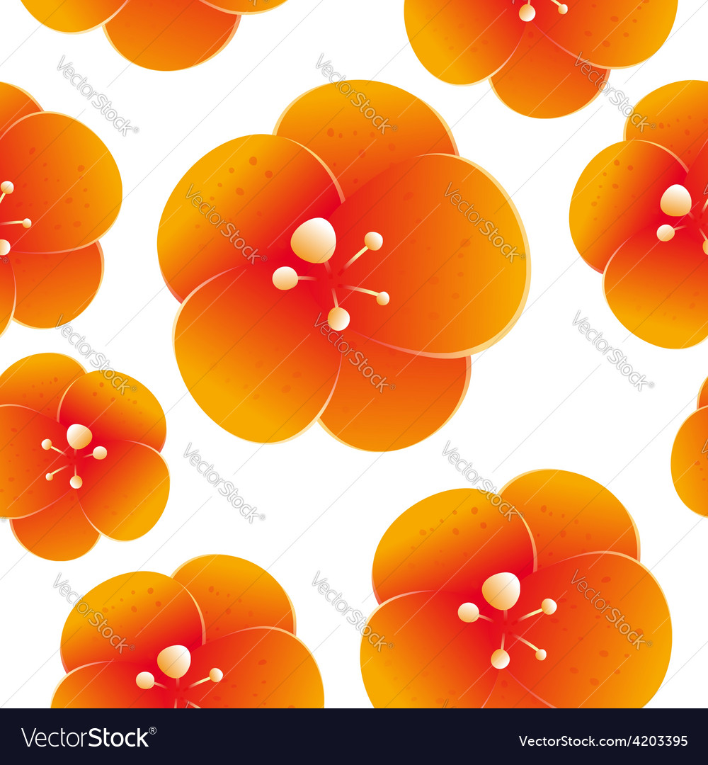Seamless pattern beautiful orange flowers