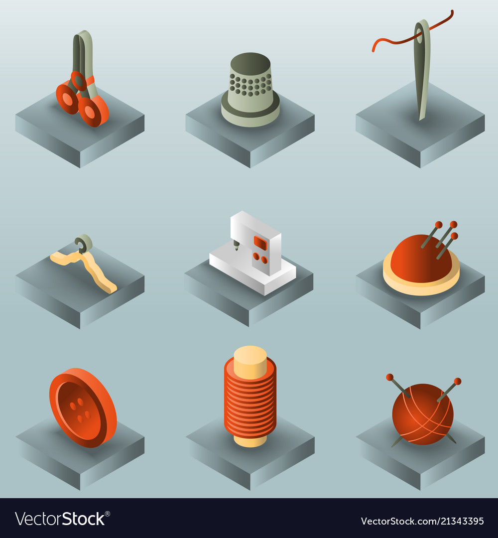 Sewing color gradient isometric icons
