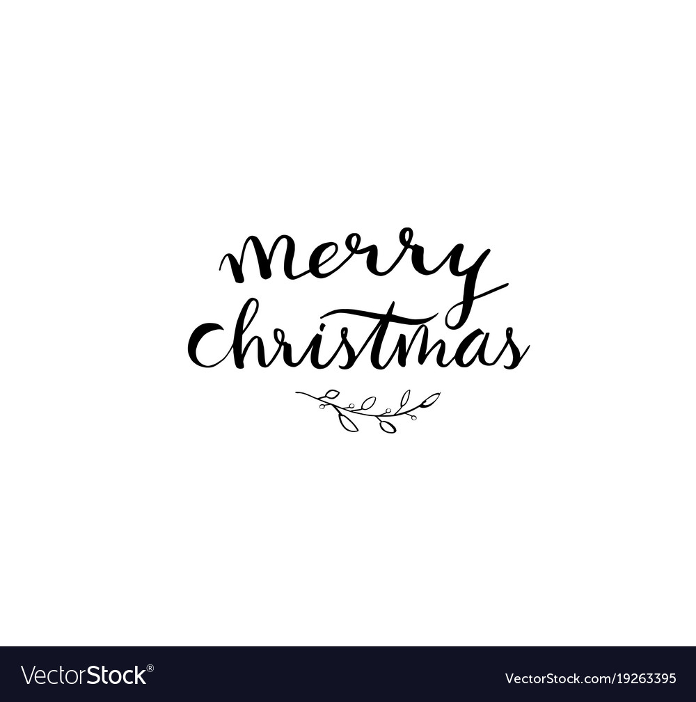 small branches around words saying merry vector image
