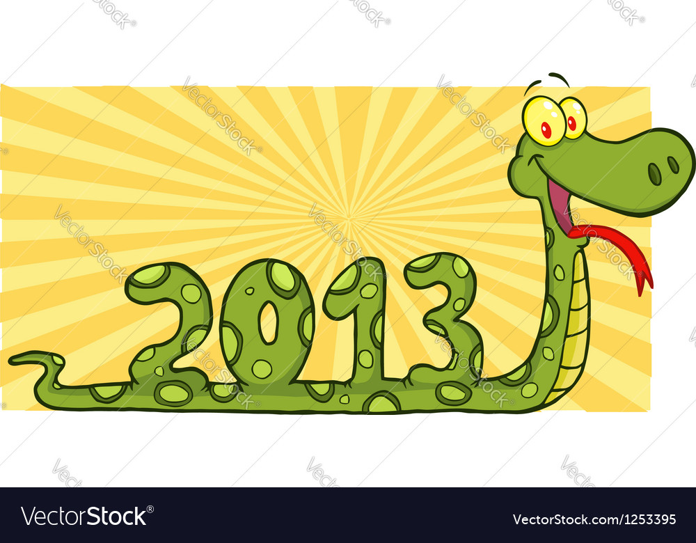 Snake Cartoon Character Showing Numbers 2013