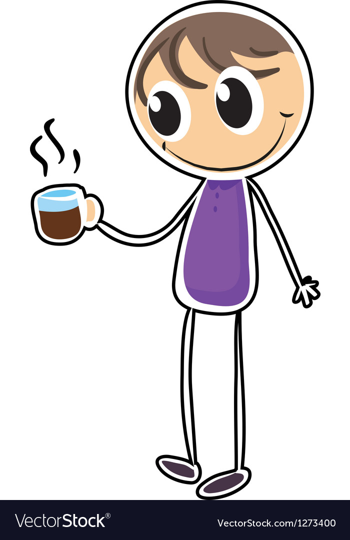 A boy with a cup of hot tea vector image
