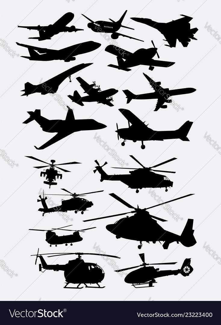 Airplane and helicopter transportation silhouettes