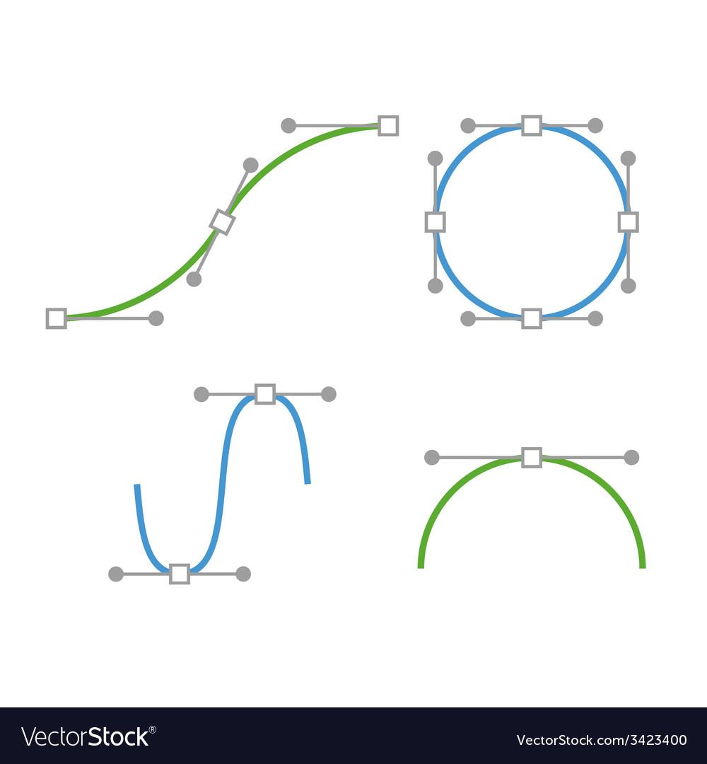 Bezier Curve Icons Set Designer work tools