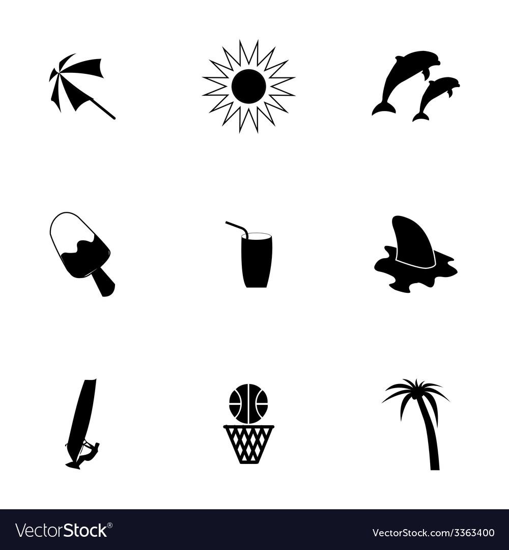 Black summer icons set