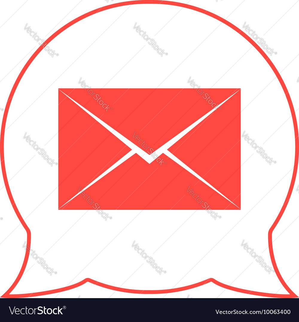 Closed red envelope in double speech bubble