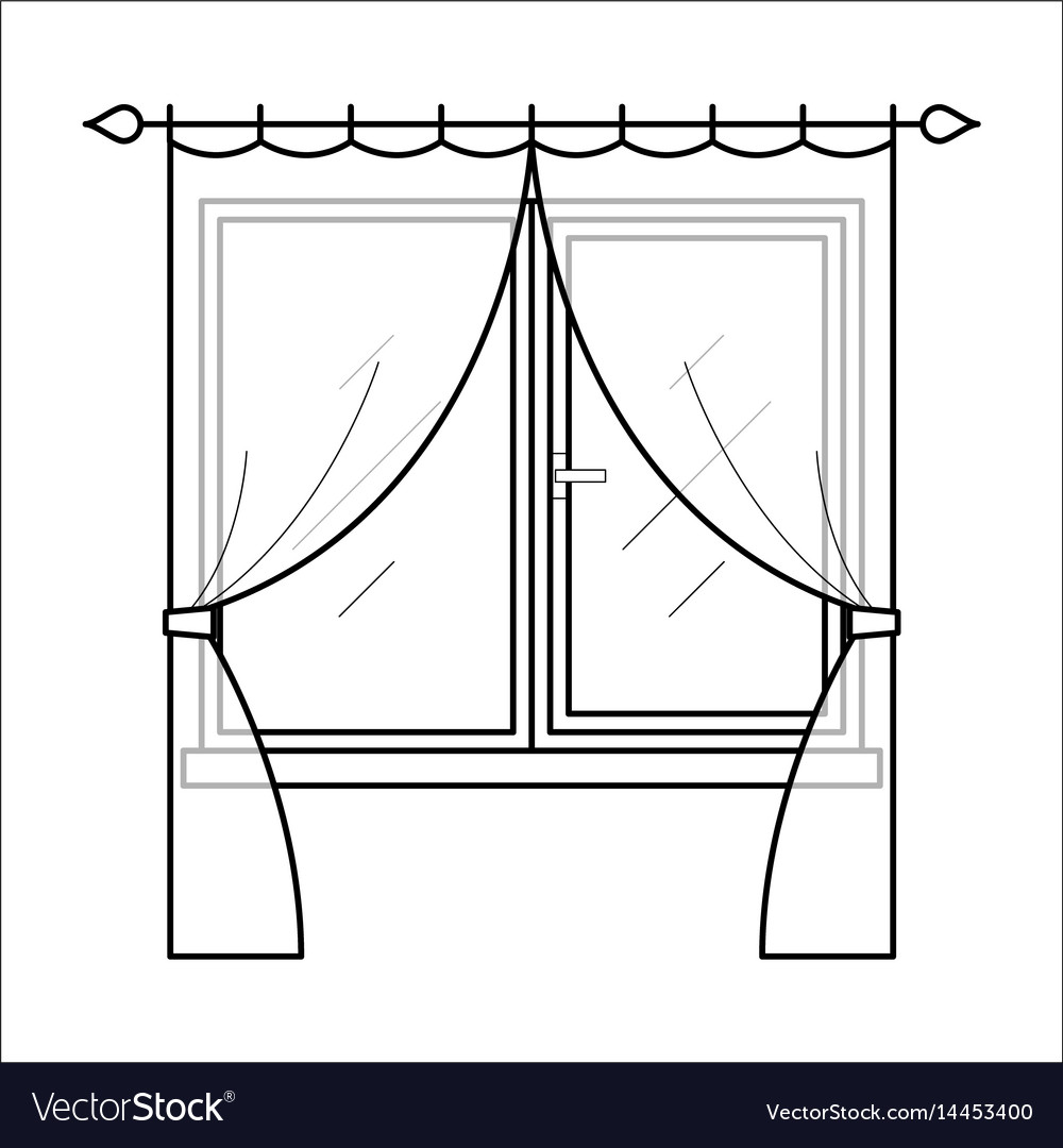 Curtains in thin linear style vector image