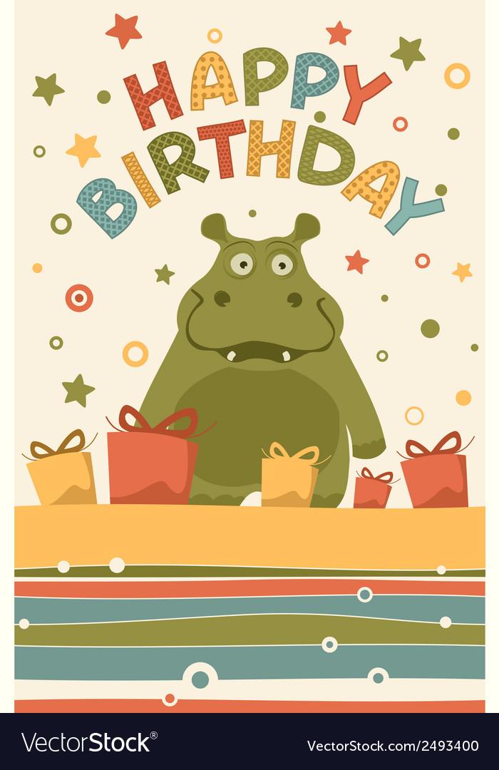 Cute Happy Birthday Card Royalty Free Vector Image