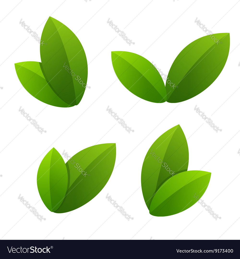 Ecology icon set green leaves