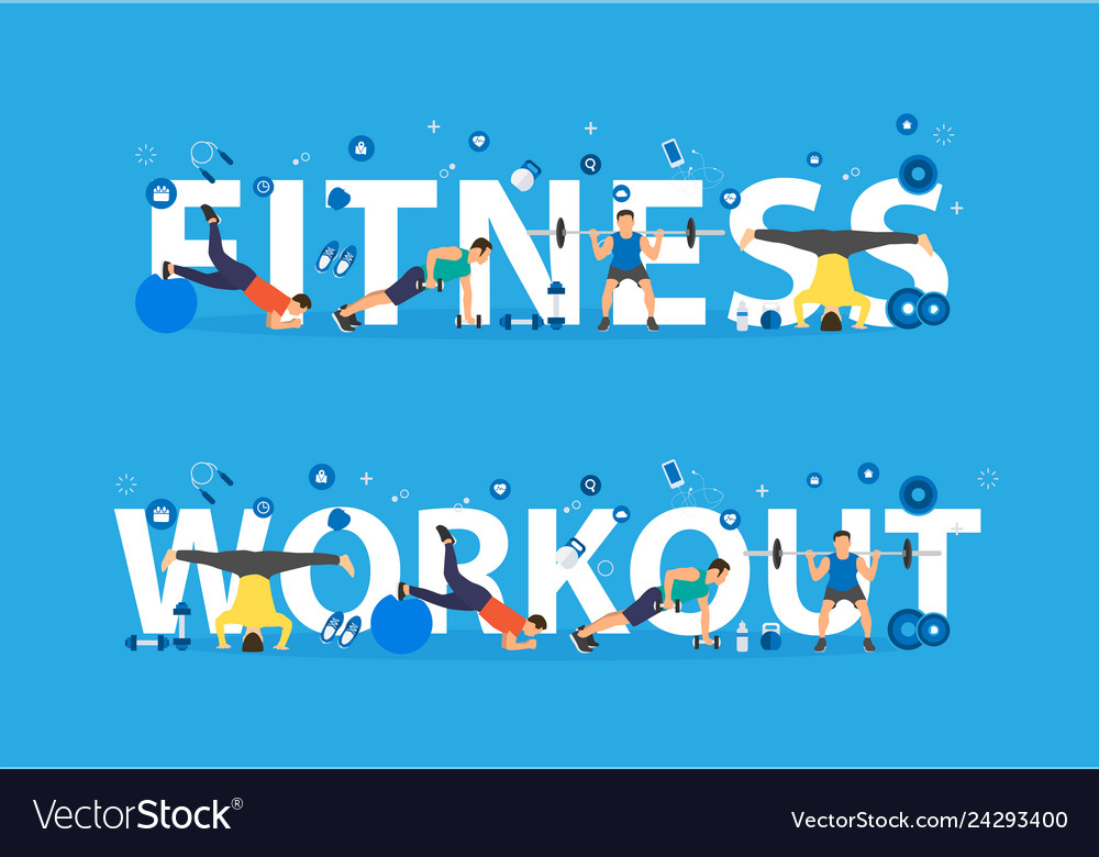 Fitness workout concept of training people doing