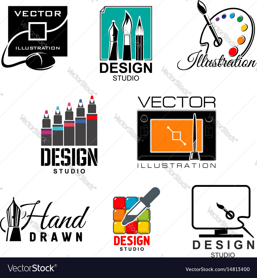Graphic and web design studio symbol set vector image