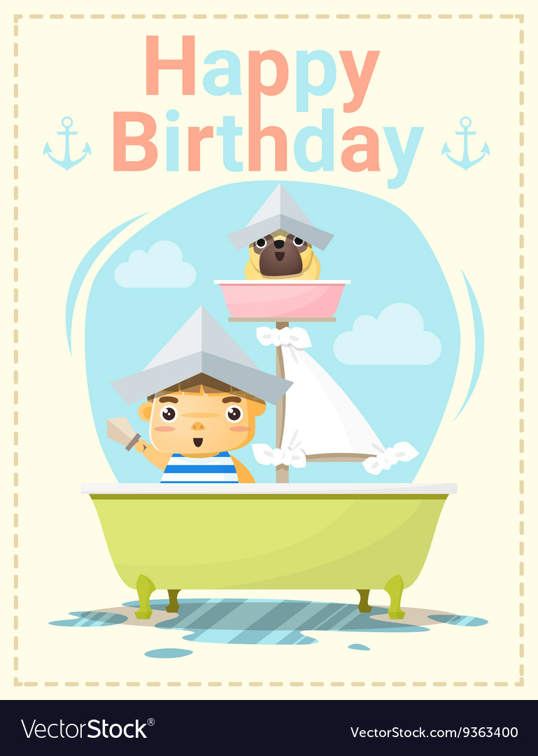Happy Birthday Card With Little Boy And Friend 2 Vector Image