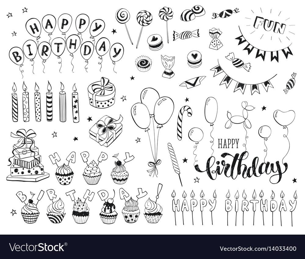 birthday doodles Happy birthday doodles Royalty Free Vector Image birthday doodles