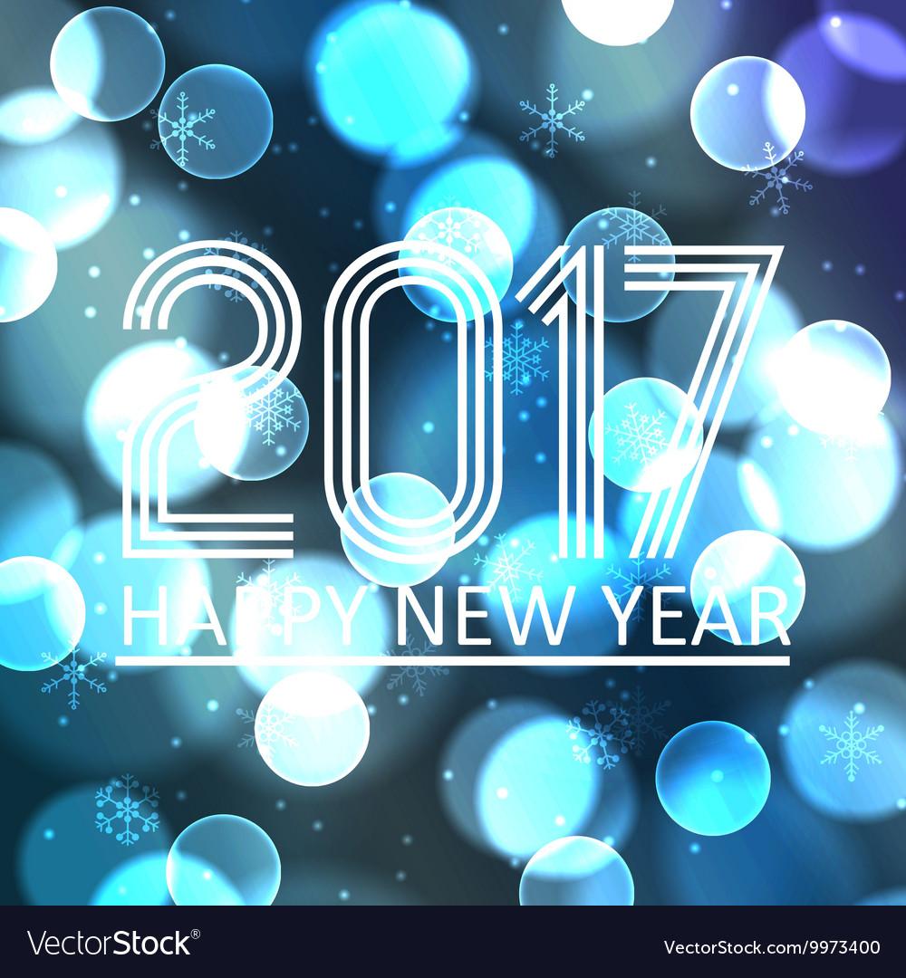 Happy new year 2017 on blue bokeh circle