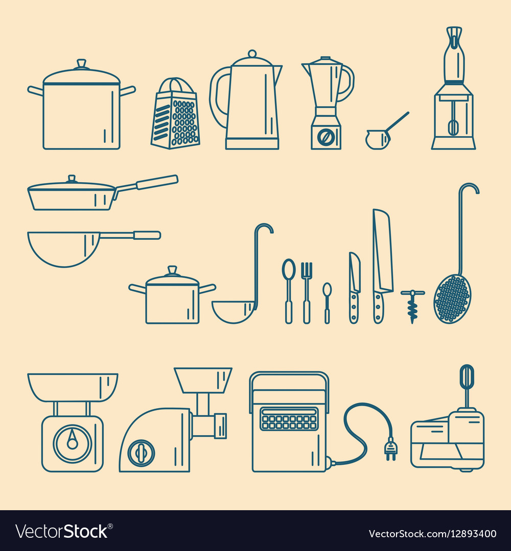 Kitchenware Appliances and utensils vector image