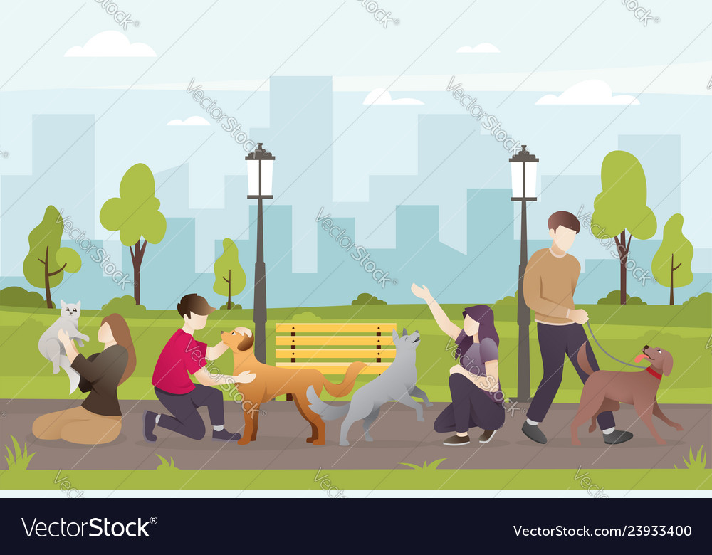 People with their pets in park