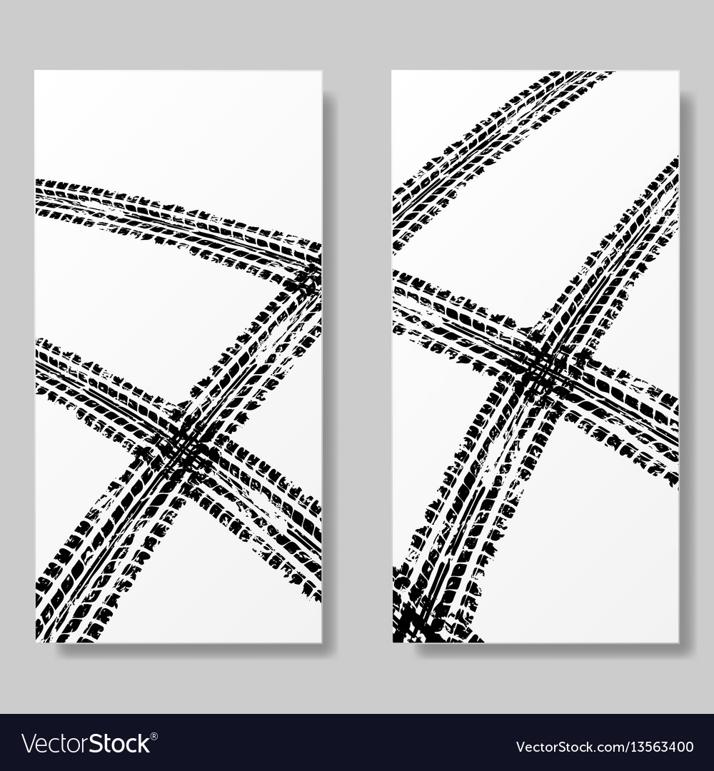 Posters with tire tracks
