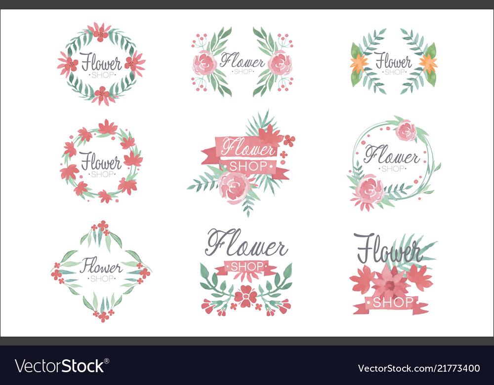 Set of flower shop logo design colorful