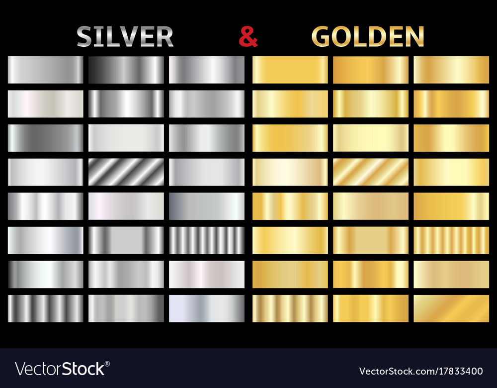 Set of gold and silver gradients