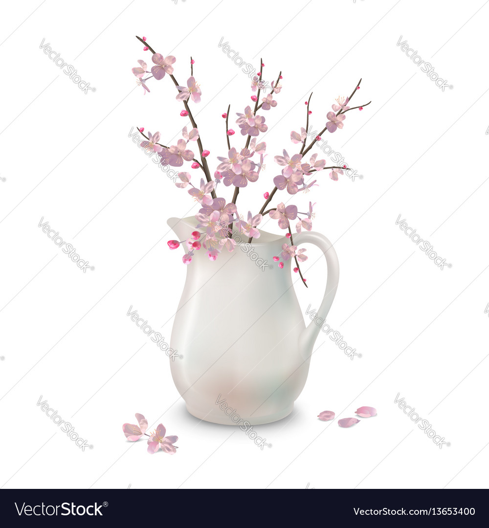 Spring blossoms branch in jug